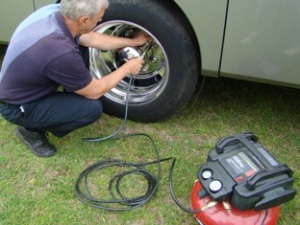 adding air to RV tires