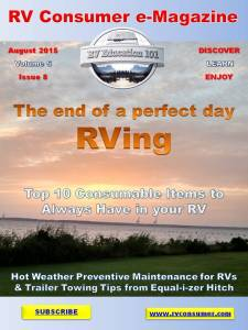 RV Consumer Magazine Cover August 2015