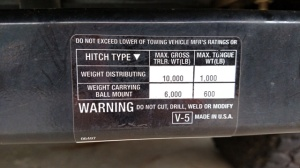 hitch receiver weight label