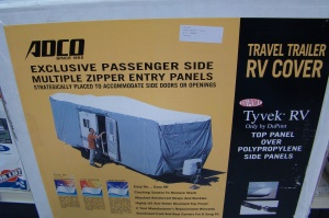 RV cover on shelf