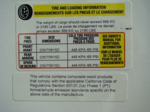 RV tire label 5th wheel