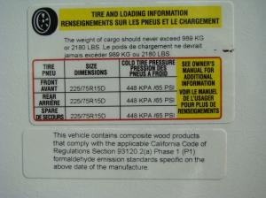 RV tire label 5th wheel