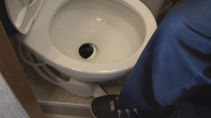 RV toilet flushing